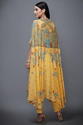 Yellow & Turquoise Embroidered Pant Set by Ri Ritu Kumar