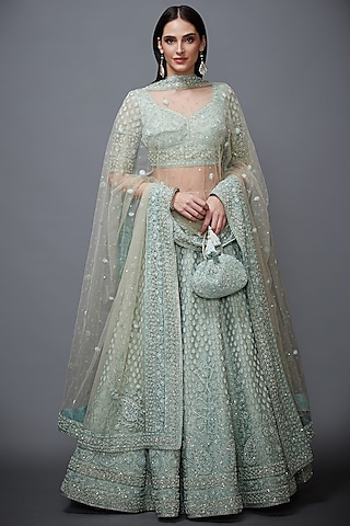 Aqua Blue Embroidered Lehenga Set by Ri Ritu Kumar