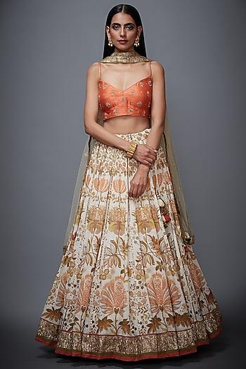 Ecru & Coral Embroidered Lehenga Set by Ri Ritu Kumar