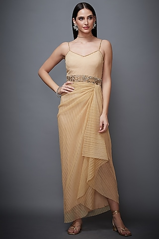 Beige Embroidered Knotted Dress by Ri Ritu Kumar