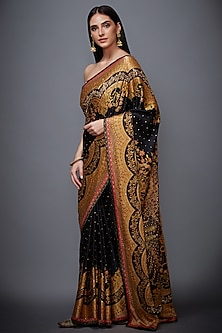 Black & Beige Embroidered Printed Saree Set by Ri Ritu Kumar