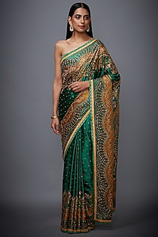 Emerald Green & Mustard Embroidered Printed Saree Set by Ri Ritu Kumar
