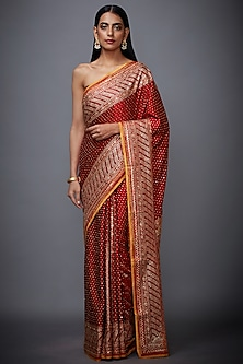 Red Embroidered Printed Saree Set by Ri Ritu Kumar