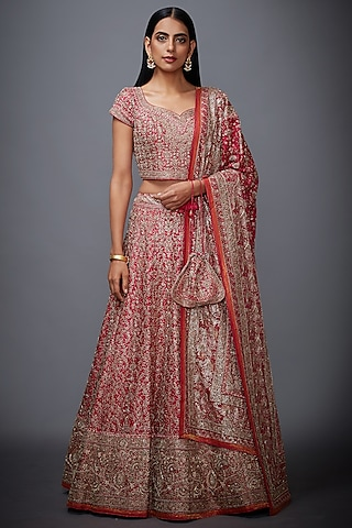 Fuchsia Floral Embroidered Lehenga Set by Ri Ritu Kumar