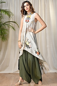 Off White Printed Jacket With Embroidered Inner & Pants by Ri Ritu Kumar