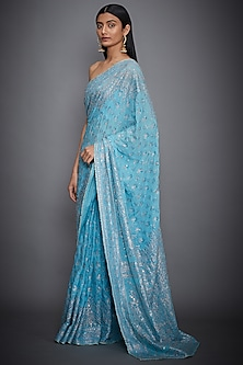 Turquoise Embroidered Saree Set by Ri Ritu Kumar