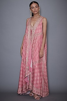 Pastel Pink Embroidered Dress With Jacket by Ri Ritu Kumar