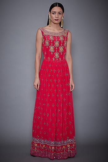 Cherry Red Embroidered Gown by Ri Ritu Kumar