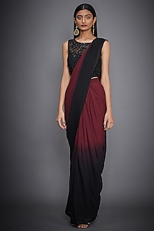 Black & Burgundy Embroidered Shaded Saree Set by Ri Ritu Kumar