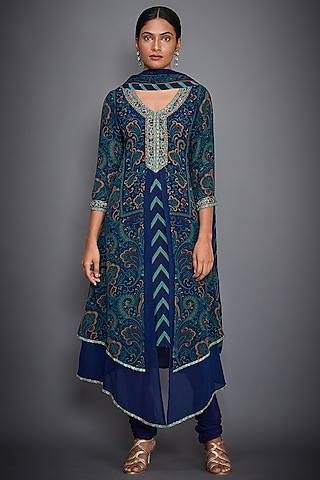 Navy Blue & Jade Green Printed Embroidered Kurta Set by Ri Ritu Kumar