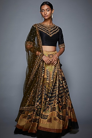 Black Embroidered Blouse WIth Olive Green Lehenga & Dupatta by Ri Ritu Kumar
