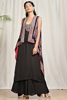 Black Embroidered & Printed Cape Set by Ri Ritu Kumar