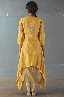Yellow & Khaki Embroidered Kurta Set by Ri Ritu Kumar