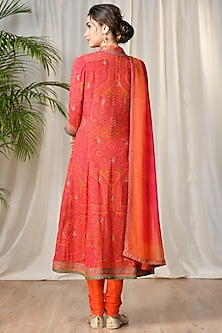 Fuchsia & Orange Embroidered Kurta Set by Ri Ritu Kumar