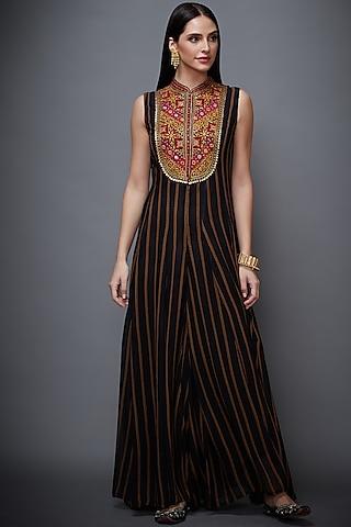 Black Striped & Printed Jumpsuit by Ri Ritu Kumar