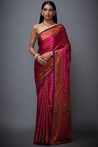 Fuchsia Striped Saree Set by Ri Ritu Kumar