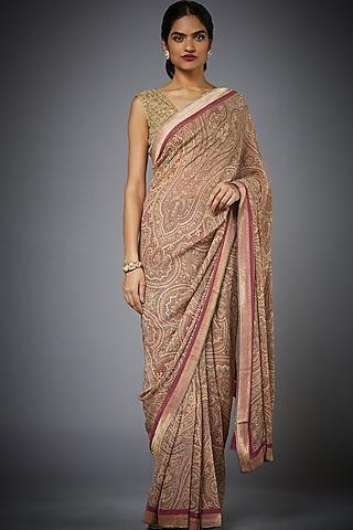 Rose Pink & Beige Embroidered Saree Set by Ri Ritu Kumar