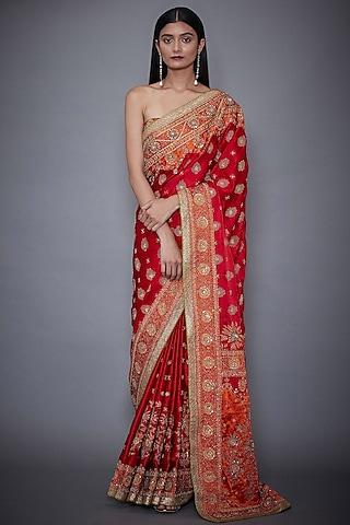 Red & Saffron Printed Saree Set by Ri Ritu Kumar