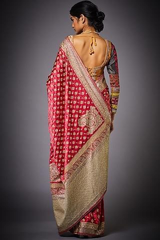 Purple & Pink Floral Saree Set by Ri Ritu Kumar
