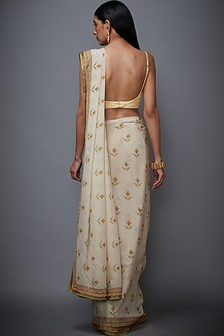 Beige & Sage Green Printed Saree Set by Ri Ritu Kumar