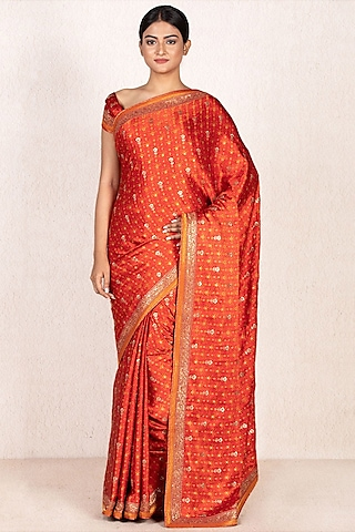 Red & Saffron Embroidered Saree Set by Ri Ritu Kumar