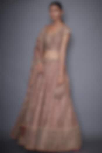 Pink Silk Lehenga Set by Ri Ritu Kumar