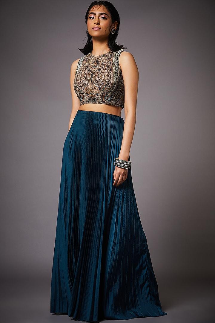 Teal Blue & Beige Skirt Set by Ri Ritu Kumar