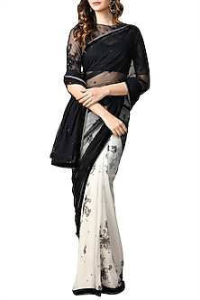 Ivory & Black Sheer Floral Saree Set by Ri Ritu Kumar
