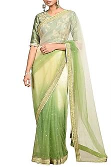 Olive Green Printed Sheer Saree Set by Ri Ritu Kumar