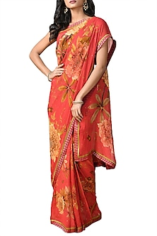 Coral Printed Saree Set by Ri Ritu Kumar