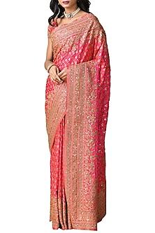 Fuchsia Handcrafted Embroidered Saree Set by Ri Ritu Kumar