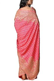 Fuchsia Handcrafted Embroidered Saree Set by Ritu Kumar