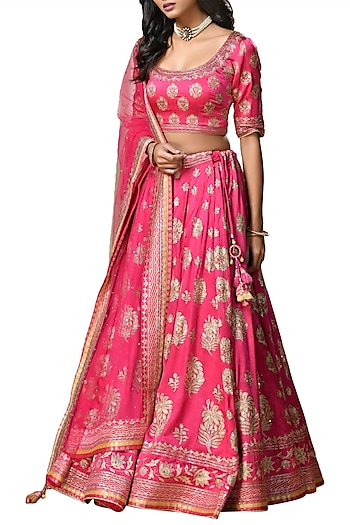 Fuchsia & Gold Embroidered Printed Lehenga Set by Ri Ritu Kumar