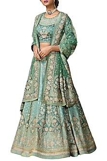 Khaki Green Embroidered Printed Lehenga Set by Ri Ritu Kumar