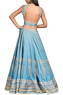 Light Blue Embroidered Lehenga Set by Ri Ritu Kumar