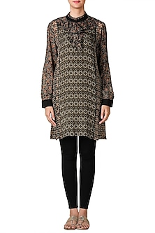 Black & Brown Printed Ruffled Kurta by Ritu Kumar