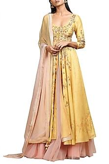 Ochre Yellow & Pink Embroidered Kurta Set by Ritu Kumar