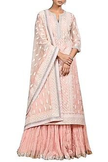 Pastel Pink Embroidered Kurta Set by Ritu Kumar