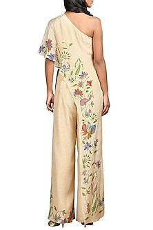 Light Beige Embroidered One Shoulder Jumpsuit by Ri Ritu Kumar