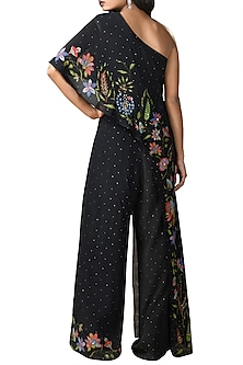 Black Embroidered One Shoulder Jumpsuit by Ri Ritu Kumar