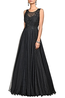 Black Floral Embroidered Gown by Ri Ritu Kumar-SHOP BY STYLE