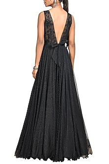 Black Floral Embroidered Gown by Ri Ritu Kumar