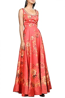 Coral Embroidered Maxi Dress by Ri Ritu Kumar
