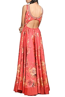 Coral Embroidered Maxi Dress by Ri Ritu Kumar