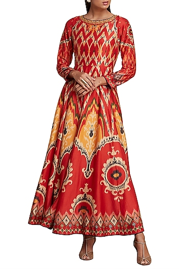 Red & Mustard Printed Ikat Anarkali Kurta by Ritu Kumar