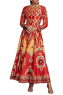 Red & Mustard Printed Ikat Anarkali Kurta by Ritu Kumar