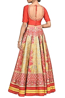 Yellow & Red Printed Embroidered Lehenga Set by Ri Ritu Kumar