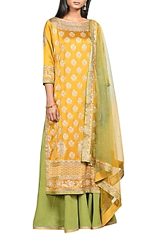 Mustard & Olive Green Printed Embroidered Kurta Set by Ri Ritu Kumar