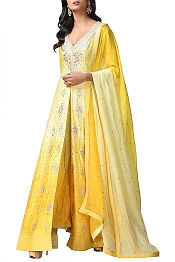 Yellow Embroidered Ombre Kurta Set by Ri Ritu Kumar
