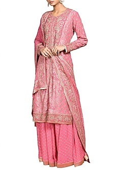 Pink & Gold Embroidered Printed Kurta Set by Ri Ritu Kumar
